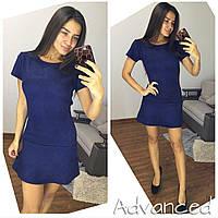 Платье замшевое мини бордовое синее