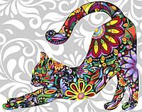 "KGX 21213 ""Цветная кошка"" Картина по номерам на холсте 40х50см"