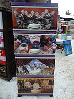 Комод пластиковый с декором цветной Кошки 4 отделения Турция