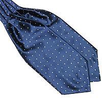 Шейный Bow Tie House платок Аскот темно-синий в белый горох 08926