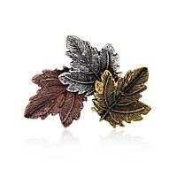 Брошь Bow Tie House в виде листьев клена - три вида метала - маленькая 08986