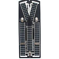 Подтяжки Bow Tie House бежевые в черный квадрат - галстучные 3.5Y 08997