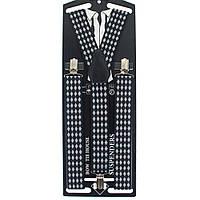 Подтяжки Bow Tie House серые с черным в ромбик - галстучные 3.5Y 09011