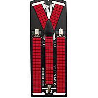 Подтяжки Bow Tie House длинные галстучные в красный квадрат 3.5Y 09018