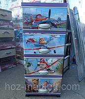 Комод пластиковый с декором цветной Самолёты отделений Турция