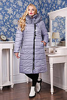 Зимний светло-серый женский пуховик ПВ-915 (и/м) Лаке Тон 570 48-62 размеры
