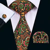 Подарочный JASON&VOGUE галстук зеленый в восточный цветочный узор 09069 09069