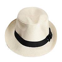 Шляпа Bow Tie House Fedora Unisex - бежевая с черной лентой - классика  09148