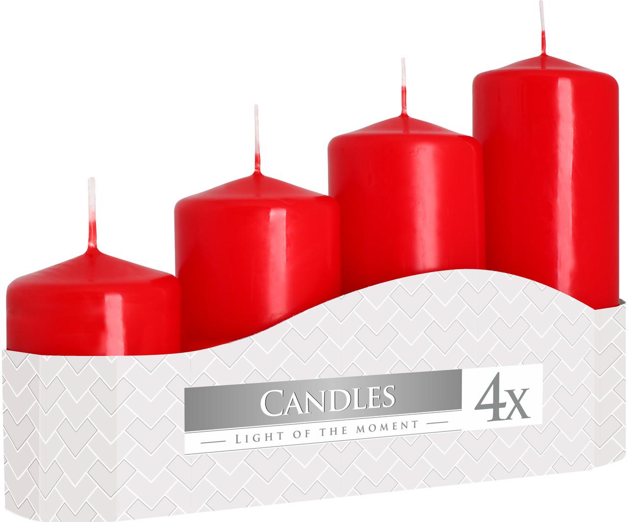 Свечи цилиндры красные BISPOL, набор из 4 шт