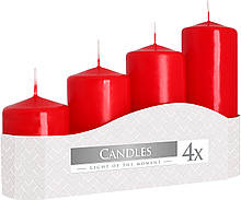 Свічки червоні циліндри BISPOL, набір з 4 шт