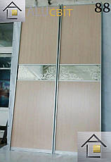 Межкомнатные раздвижные (перегородки) двери купе, ДСП, стекло сатин, фото 2