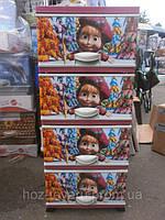 Комод пластиковый с декором цветной Маша и Медведь отделений Турция