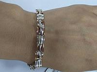 Браслет женский серебряный с золотом и камнями циркония Арина