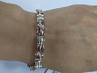 Браслет женский серебряный с золотом и камнями циркония Арина, фото 1