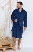 Мужской банный халат на запах Махра синий и коричневый до 52 р