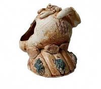 Декорации для аквариума Керамика Амфора маленькая на ракушке  11*11см
