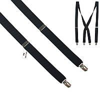 Подтяжки Bow Tie House черные однотонные Х-образные с кожаной серединкой 09484