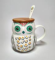 Чашка Сова, с крышкой и ложкой, 400 мл, зеленые глаза
