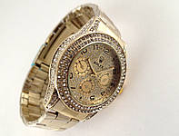Женские часы ROLEX -  циферблат и корпус в кристаллах, цвет корпуса и браслета золото., фото 1