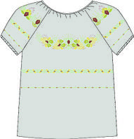 Сорочка женская 828-14/08 разм.40 (кор.рукав, под бисер) лён схема 50/51