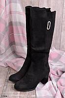 Сапоги зимние женские на каблуке 7,5 см эко-замша
