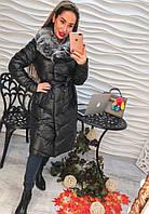 Элегантное зимнее пальто из эко кожи, фото 1