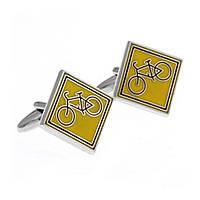 Запонки Bow Tie House желтые с велосипедами 09757