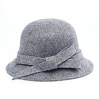 Шляпа Bow Tie House серая женская федора с бантиком 09763