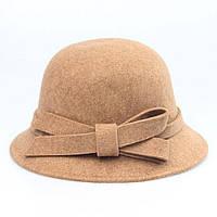 Шляпа Bow Tie House бежевая женская федора с бантиком 09762