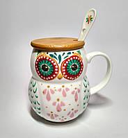 Чашка Сова, с крышкой и ложкой, 400 мл, красные с зеленым глаза