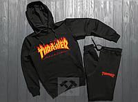 Трикотажный чёрный спортивный костюм Thrasher с капюшоном