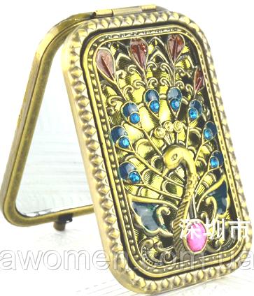 Компактное зеркало с камнями (бронза) в коробке