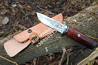 """Нож охотничий из дамасской стали """"Бурый медведь""""  ,прочный и надежный+чехол из кожи,Ручная работа !!"""