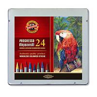 Карандаши 24 цвета акварельные, пластиковые Кохинор Progresso в металлической подарочной коробке
