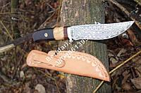 """Нож охотничий из дамасской стали """"Восток""""  ,прочный и надежный+чехол из кожи,Ручная работа !!"""