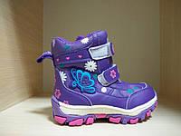 Сапожки фиолетовые детские зимние на липучке