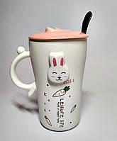 Чашка Кролик, зайчик, с крышкой, 375 мл
