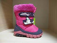 Сапожки розовые детские зимние на липучке
