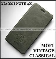Оригинальный Mofi Vintage Classical чехол книжка Xiaomi Redmi Note 4X темный серый Smart