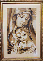 """Вишивка бісером """"Мадонна з немовлям"""" повна зашивка 49х30.5см"""