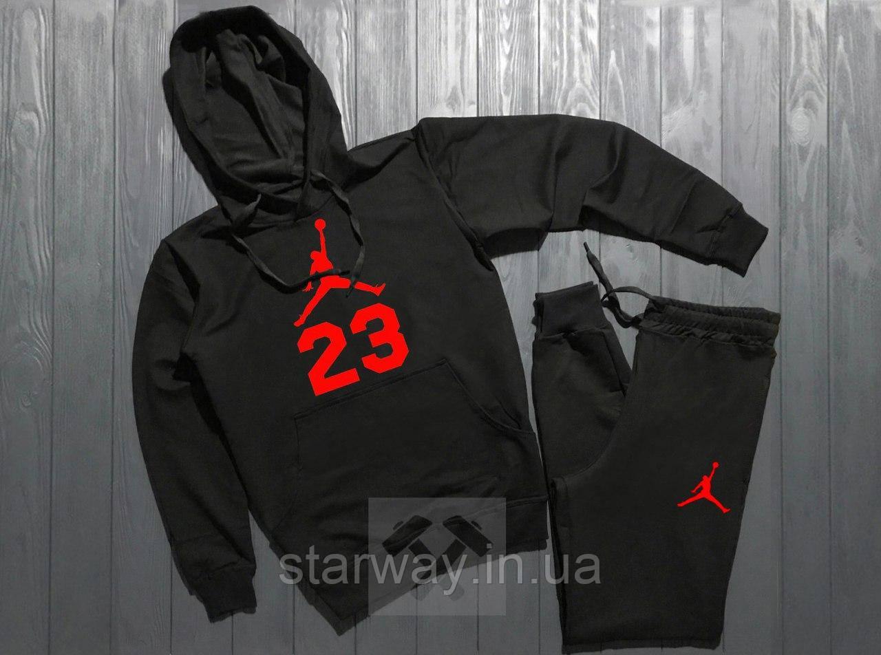 Спортивний трикотажний костюм з капюшоном Jordan 23 червоне лого   black