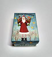 Подарочная коробка Новогодняя Дедушка Мороз, голубая, 11,2х8х5,8 см