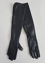 Женские кожаные перчатки с кнопками длинные