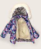 """Зимний костюм """"Эльза"""" для девочки принт в синем цвете. Размеры 1-2-3-4 года , фото 2"""