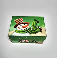 Подарочная коробка Новогодняя Снеговик, зеленая, 11,2х8х5,8 см