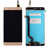 Дисплей (экран) + сенсор (тач скрин) Lenovo A7020 K5 Note gold (оригинал)