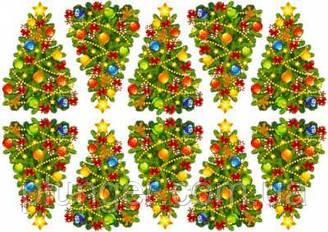 """Вафельная картинка для для пряников, пирожных топперов """"Ёлочки"""", (лист А4)"""