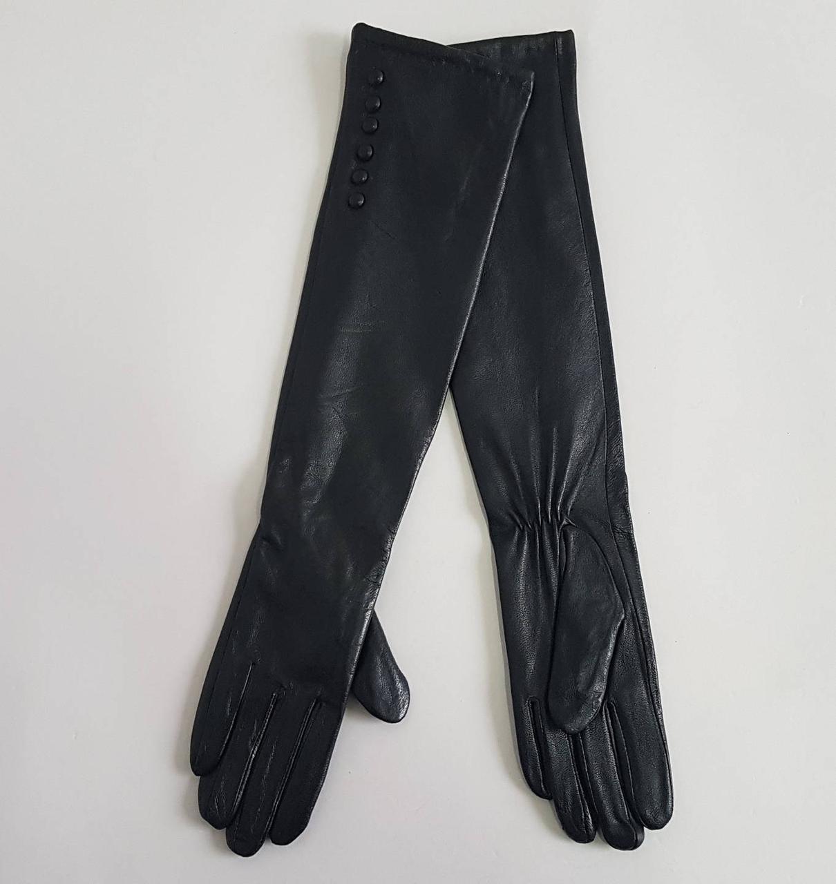 Длинные женские перчатки из натуральной кожи