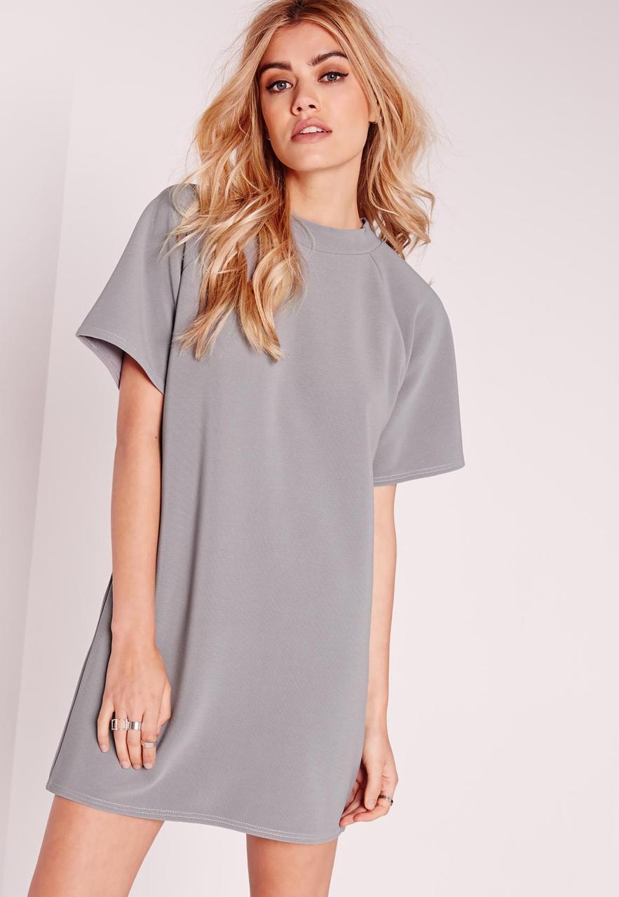 Серое платье-джемпер прямого кроя Missguided