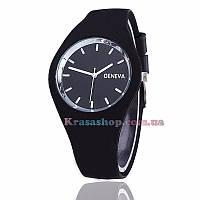 Спортивные силиконовые наручные часы Geneva чёрные, фото 1